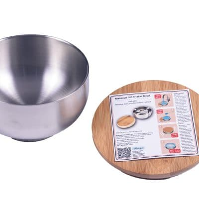 Massage Gel Stainless Steel Bowl and Bamboo Lid with 500ml/ 16.9oz Capacity
